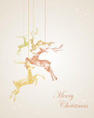 Merry Christmas abstract hanging reindeer greeting card
