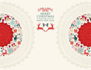 Merry Christmas vintage greeting card illustration