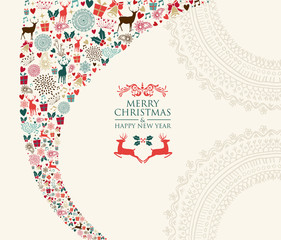 Merry Christmas vintage elements composition