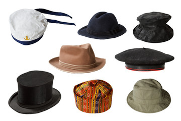 Set of hats isolated on white background