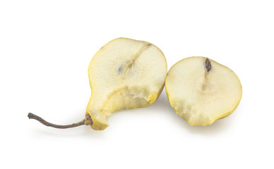 Bitten pear slices