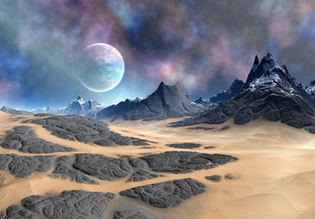 Alien Planet With Mountains and Desert