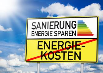 Wegweiser mit Sanierung und Energiekosten