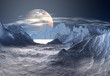 Alien Planet with Ice and Snow
