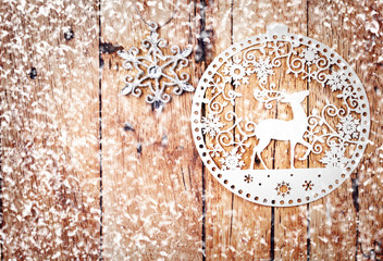 Retro Christmas Decoration Over Wooden Background.