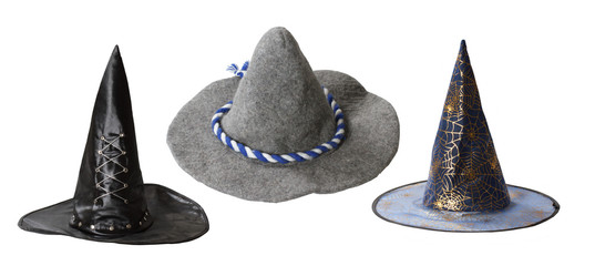 Set of witch hats isolated on white background