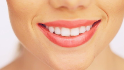 Beautiful toothy female smile