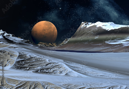 Alien Planet with Mountains and Snow © diversepixel