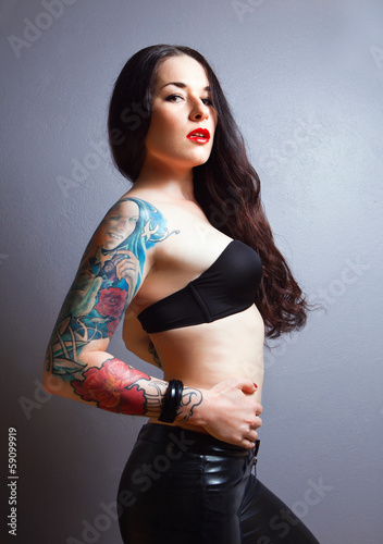 Beautiful sexy glamorous girl with tattoos.,.