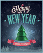 New Year Poster with Christmas tree. Vector illustration.