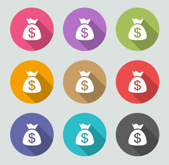 Money bag icon - Flat designs