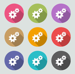 Cogwheel icon- Flat designs