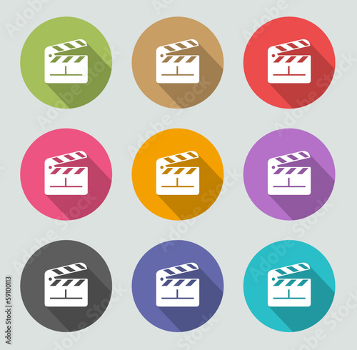 Clapper board icon - Flat designs