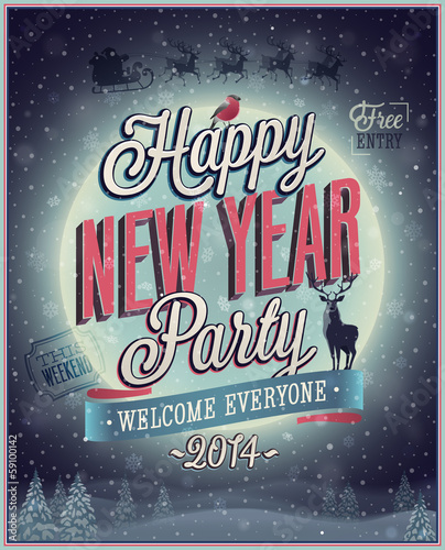 New Year Party Poster. Vector illustration.