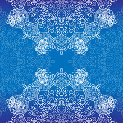 Abstract lace decoration , round shape, vector snowflakes