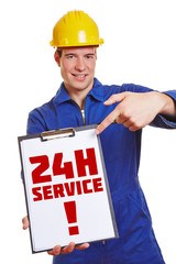 Construction worker advertising 24h service