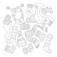 Warm knitted accessories, vector