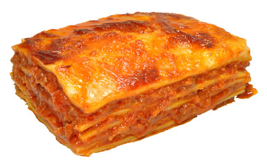 Lasagne Isolated On White