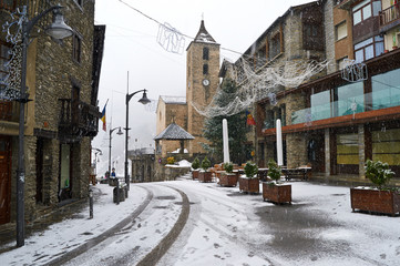 Snowfall in Ordino, Andorra