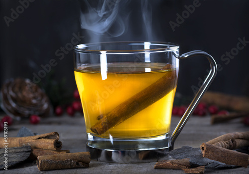 Hot Toddy Cocktail Drink with Cinnamon