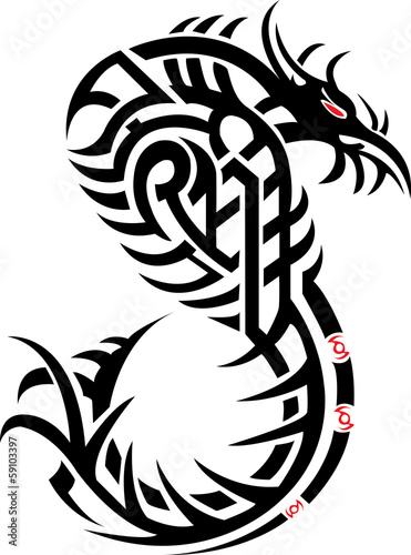 Viper tattoo with black flames. Vector illustration