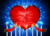 Glossy red heart happy valentines day background