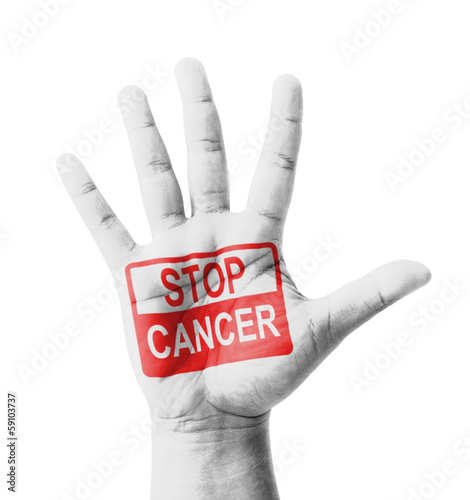 Open hand raised, Stop Cancer sign painted