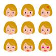 金髪女性の表情セット