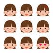 女の子の表情セット
