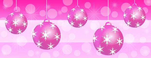 Pink christmas panoramic background banner
