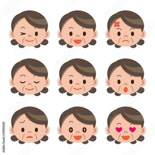 シニア女性の表情セット