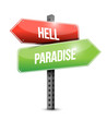 hell and paradise road sign illustration design