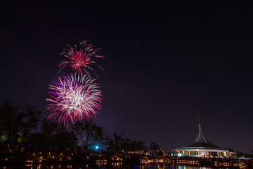 firework in suanloung park thailand.