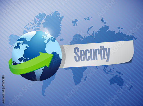 globe security sign illustration design