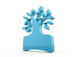 Blue abstract tree concept rendered isolated
