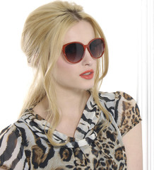 blond woman wearing sunglasses
