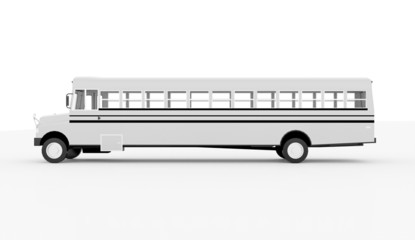School bus long rendered and isolated
