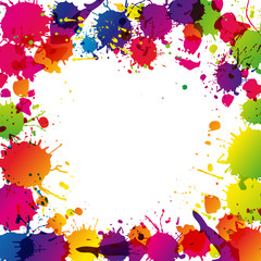 Colored splashes in abstract shape, background