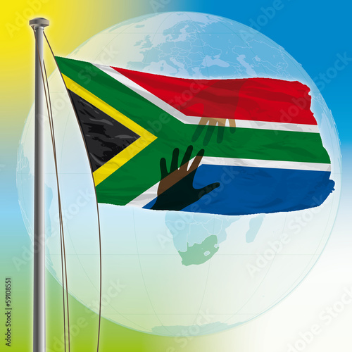 south africa flag with hands
