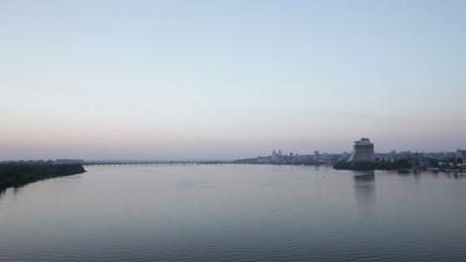River skyline. Timelapse