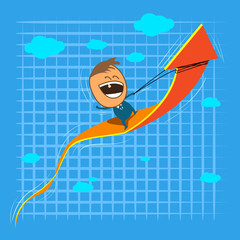 Cute character happy businessman riding on rising arrow front of