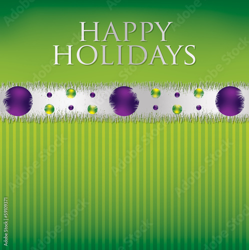 Bauble and tinsel garland Christmas card in vector format.