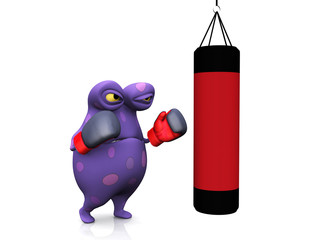 A spotted monster punching a heavy bag.