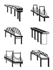 Various bridges in perspective - vector illustration