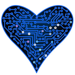 Blue Digital Heart