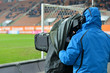 TV camera at the football stadium
