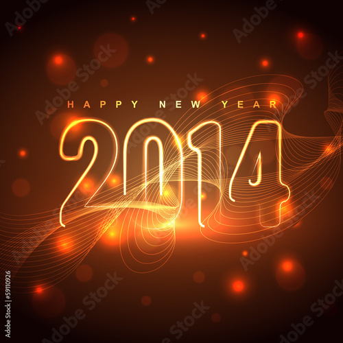glowing happy new year design