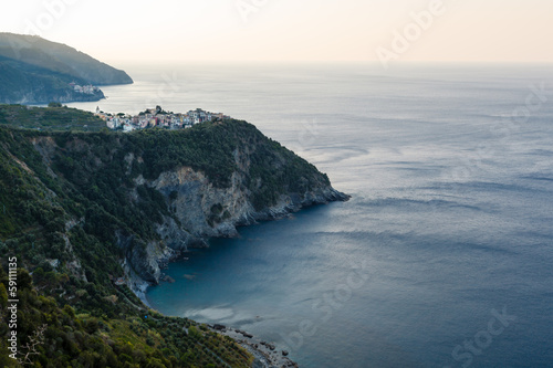 Villages Corniglia and Manarola at the Morning in Cinque Terre,