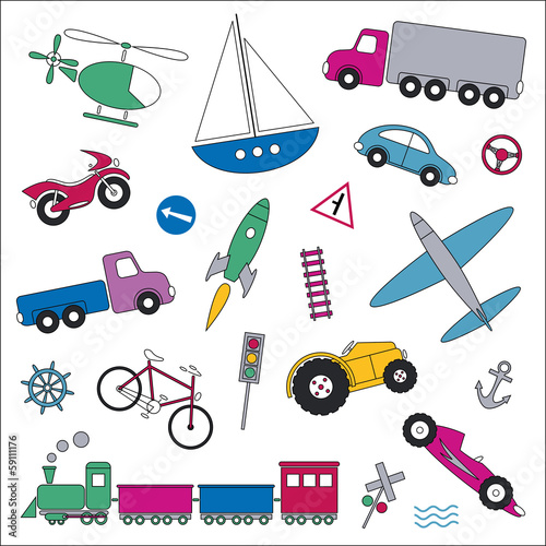 traffic elements set vector illustration