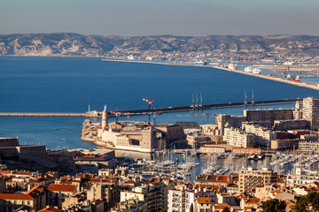 Aerial View of Marseille City and its Harbor, France